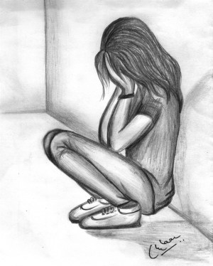 sad pencil sketch sketches drawings drawing dp desipainters alone person crying easy face down sadness wall looking someone upset depression