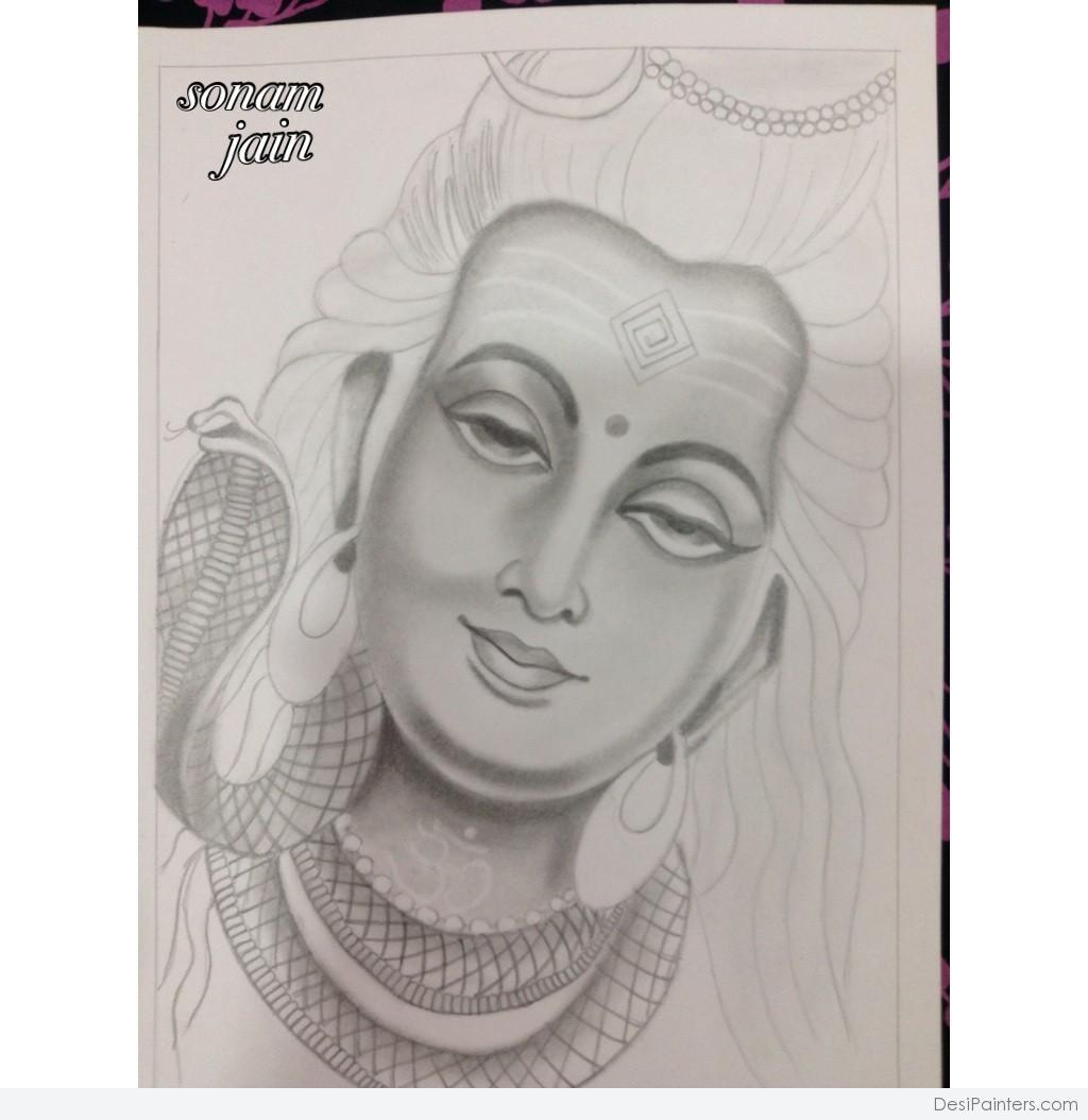 Lord shiva pencil sketch desipainters