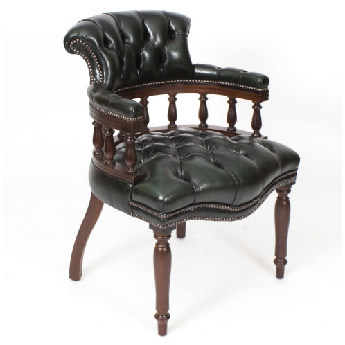 desk chair made habitat altea covers for sale hand in england leather captains olive green