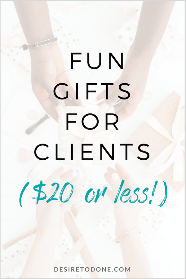 "Sending a gift to a client is yet another opportunity to shine and stand out. Giving him or her a gift that says, ""I picked this just for you"" is really special and will get you good karma points (and maybe more work!). Here are some fun gift ideas for clients, all under $20. #giftguide #clients #virtualassistant"