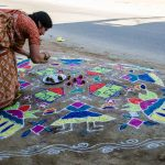 Rangoli For Sankranti Celebrations in Bhoodan Pochampally Village
