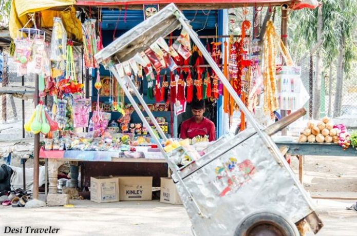 Ice cream pushcart in market near chilkur balaji temple