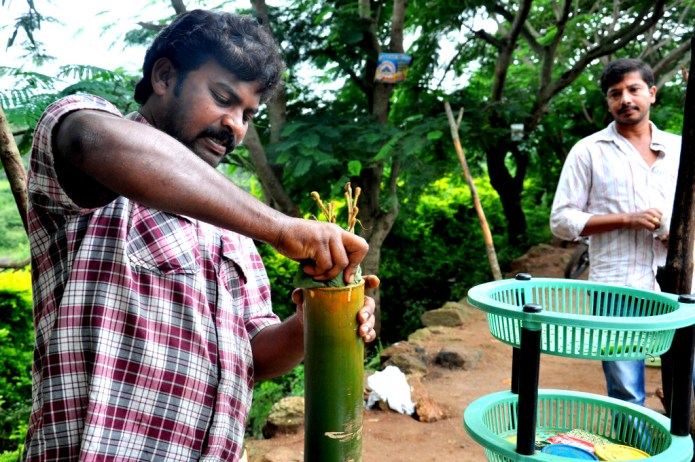 Stuffing the Chicken in Bamboo in Araku Valley