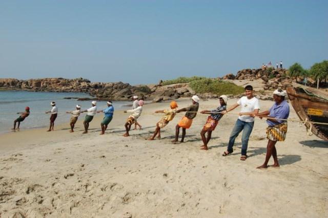Fishermen on Kovalam beach kerala