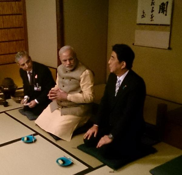 Narendra Modi Tea Ceremony Japan hosted by Shinzo Abe