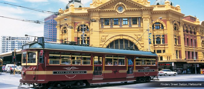 Tram in front of Finders Street Station Melbourne