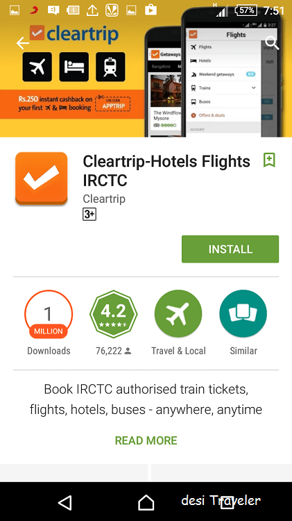 Cleartrip app for android