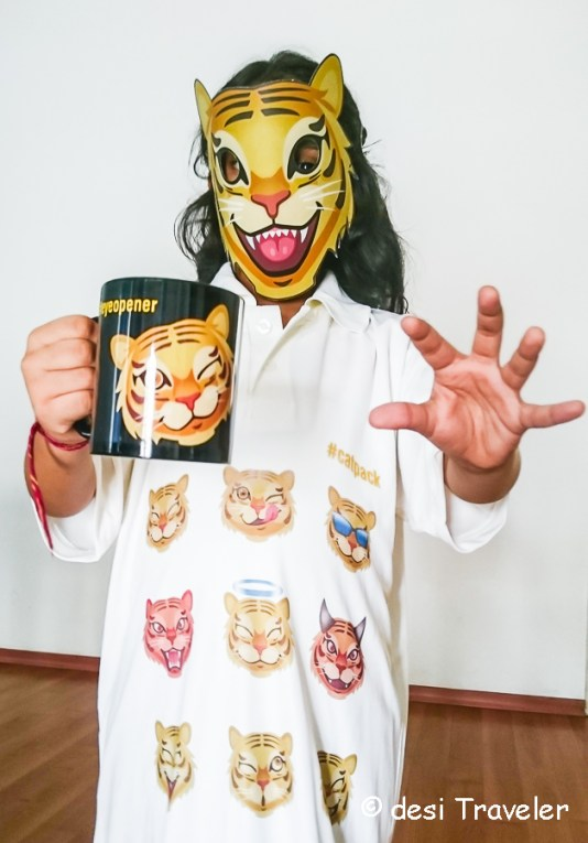 kid wearing tiger mask