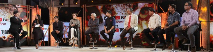 Vikram Chandra, Swati Thiyagrajan and Dia Mirza with the Wildlife and Tiger Experts in a Panel Discussion