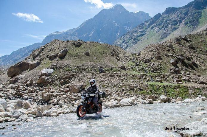 Biker in Spiti river