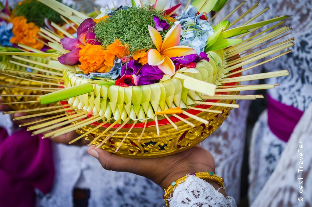 Flower offering for Hindu gods in Bali Temple, Indonesia
