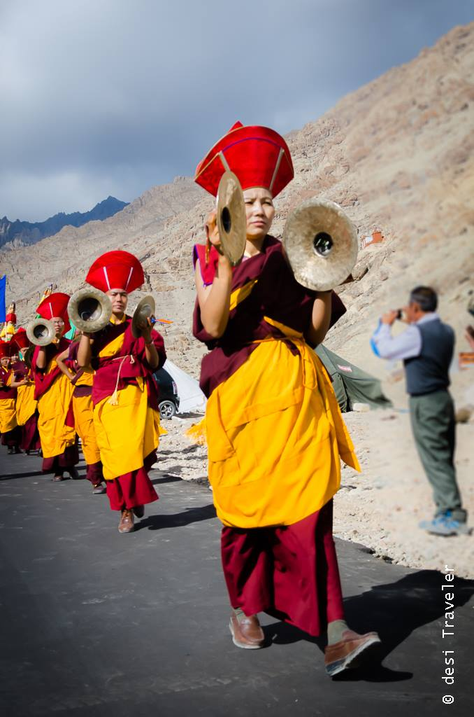 Buddhist nuns playing musical instruments