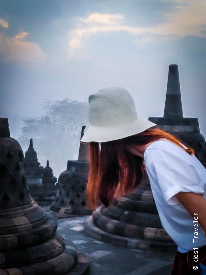 Girl in Fedora Borobudur Temple