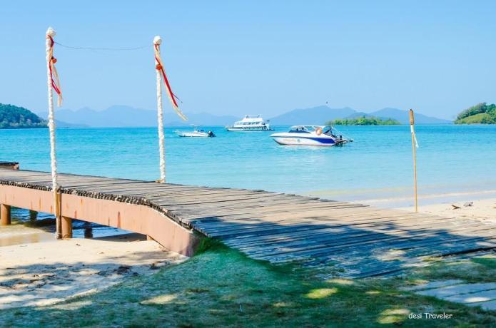 Boats in Pier Ko Maak Island Thailand