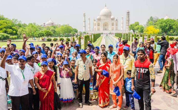 Tourists group photo Taj Mahal Agra