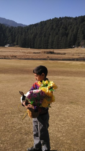 A boy asks for photo clicking facilities with his hill rabbit