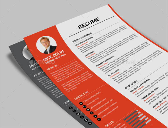 templates for pages resume