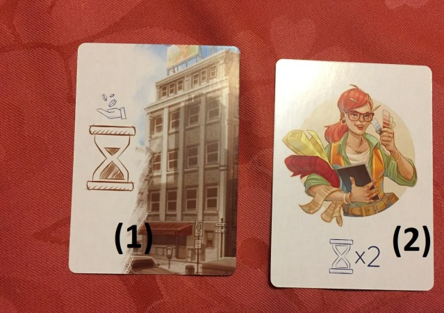 A gauche (1): la carte ville loyer qui me rapporte un sablier brun A droite (2): la carte ville/campagne décoratrice d'intérieur qui me permet de doubler les gains de mes sabliers.