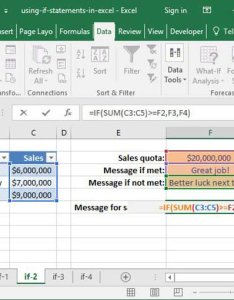 Using an if statement to determine sales quotas also how use excel top things learn deskbright rh