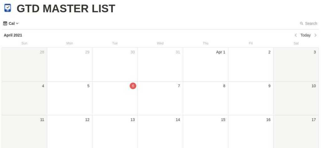 GTD Master List Calendar notion template