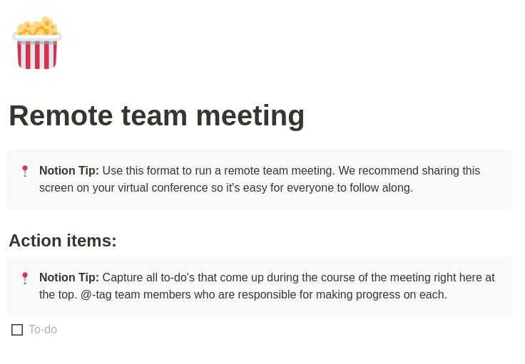 Remote Team Meeting notion template
