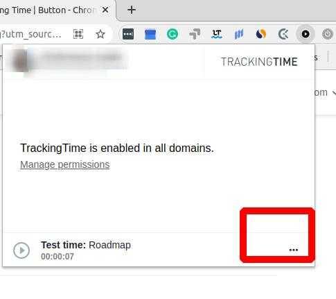 TrackingTime Extension Settings