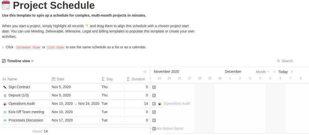 Project Schedule notion template