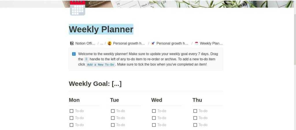 Notion weekly planer