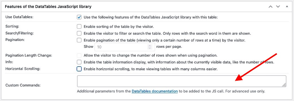 Custom commands box for the DataTables JavaScript library