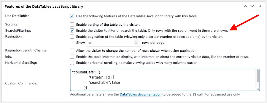 Settings panel for the DataTables JavaScript library features emphasising the Search-enable option