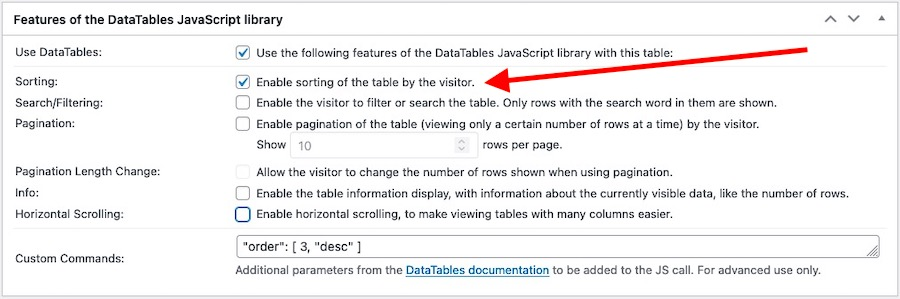 Settings panel for the DataTables JavaScript library features emphasising the Sorting-enable option
