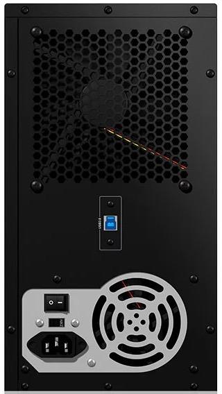Back aspect of the ICY BOX IB-3810u3 multi-bay hard drive JBOD enclosure