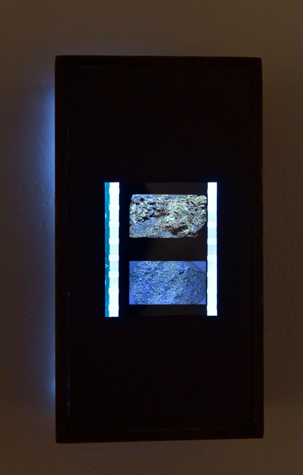 Michael Powell, Pyrite, Gold, 35mm film on lightbox, 2016.