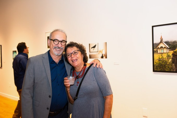 Carmon Colangelo, Dean of the Sam Fox School of Design & Visual Arts with Rosemary Strembicki at the Stan Strembicki & Alumni Art Show Opening Reception, Des Lee Gallery, St. Louis, MO