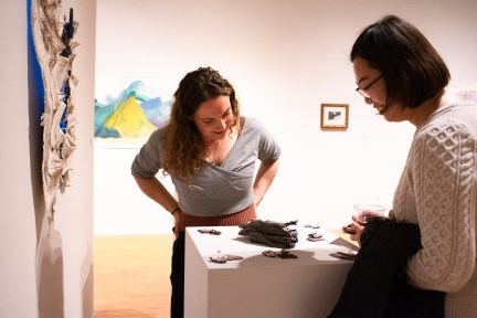"""Sarah Knight (left) talks with Medical student Bo Yang about her piece """"Gorges of Your Exalted Body,"""" Parabola: Assembly exhibition, Des Lee Gallery, Washington University, St. Louis, MO"""