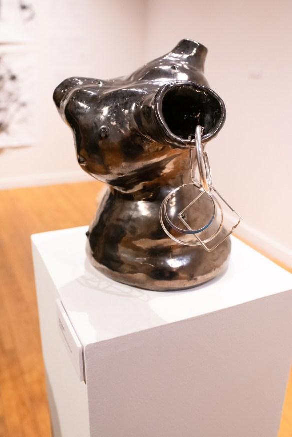 """Dime Piece"" by Lola Ogbara, Parabola: Assembly exhibition, Des Lee Gallery, Washington University, St. Louis, MO"
