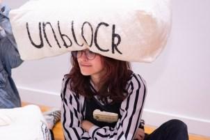 "Zoe Finkelstein plays with ""Unblocked"" by Grace Zajdel, BFA Show 2, Des Lee Gallery, Washington University, St. Louis, MO"