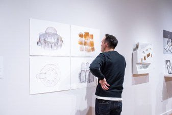 """Curtis Roth, from Ohio State University, views """"Color Space, 2017 by Yasmin Vobis of Ultramoderne"""" at the Opening Reception of the """"Decoys and Depictions: Images of the Digital"""" Exhibition at the Des Lee Gallery, Washington University, St. Louis, MO"""