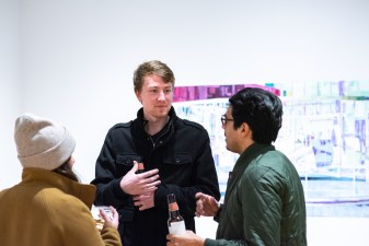 Ryan Erickson (c) talks with fellow artists at the Parabola: Extraterrestrial Exhibit Opening, Des Lee Gallery, Washington University, St. Louis, MO