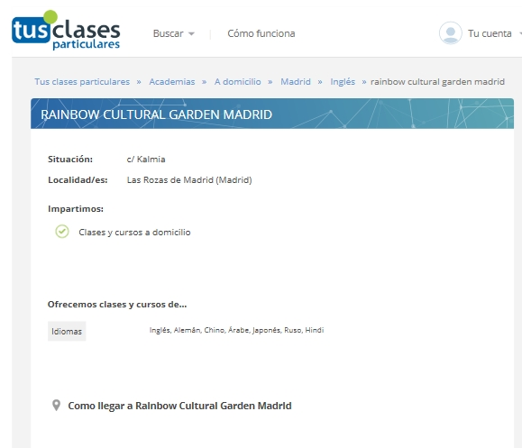 CLASES IDIOMAS - RAINBOW CENTER
