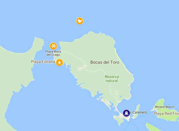 Mapa Bocas del Toro, Panamá