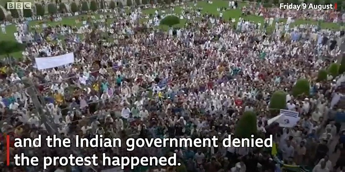 BBC footage of thousands of people protesting in Srinagar on Friday. The Indian government said this protest didn't happen.