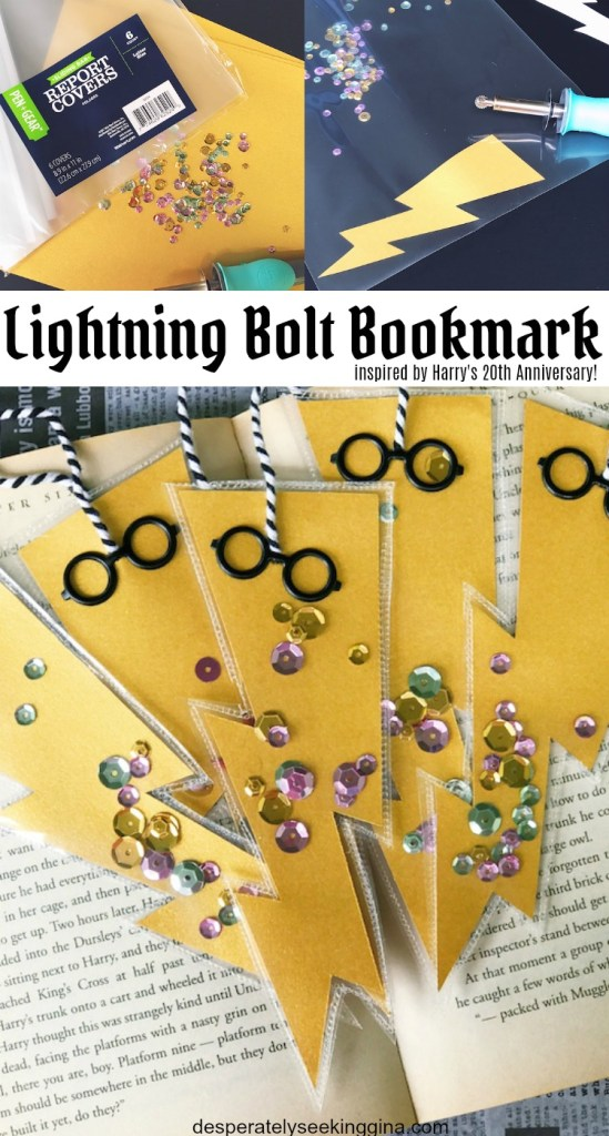 Lightning Bolt Bookmark inspired by Harry Potter and the Sorcerer's Stone 20th Anniversary. A fun Harry Potter kid's craft to make and give.