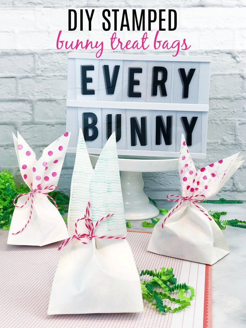 DIY Stamped Bunny Treat Bags are an easy kid's craft, party favor, or Easter Basket stuffer.