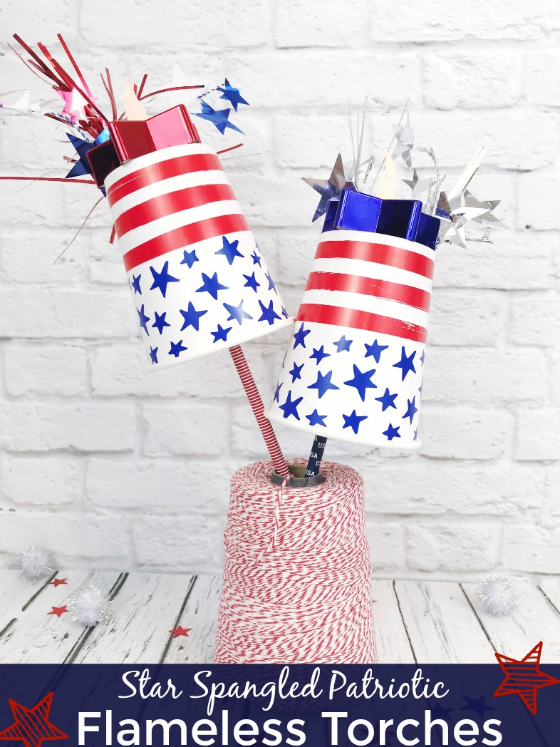 Patriotic flamelesstorches made out of paper cups and paper straws.