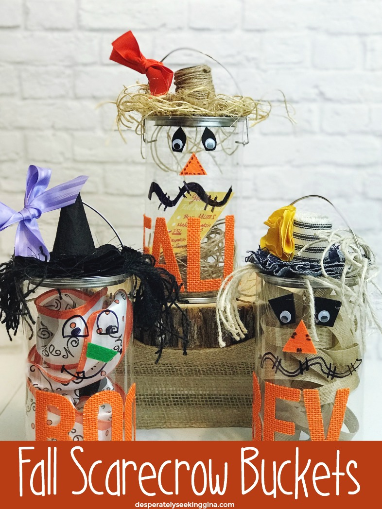 Fall Scarecrow Buckets perfect autumn inspired treat buckets for Halloween or fall entertaining. Great for bucket list items or autumn themed time capsules.