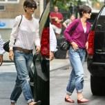 Katie Holmes con el estilo boyfriend jeans.