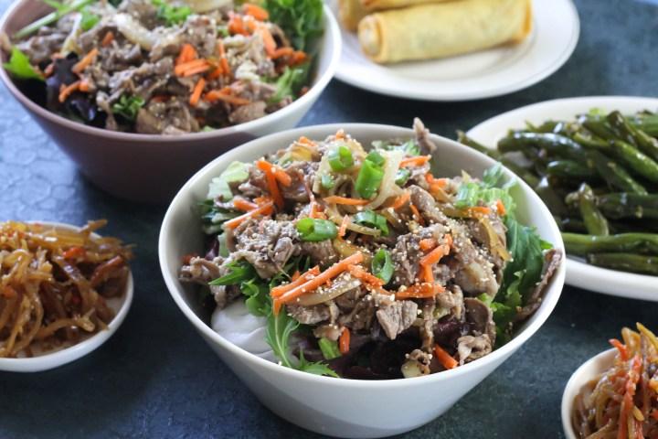 salade de boeuf au riz grillé