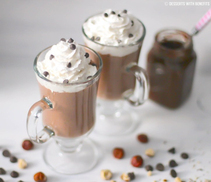 Healthy Desserts Nutella Hot Chocolate with Hazelnut Homemade Nutella Whipped Cream and Chocolate