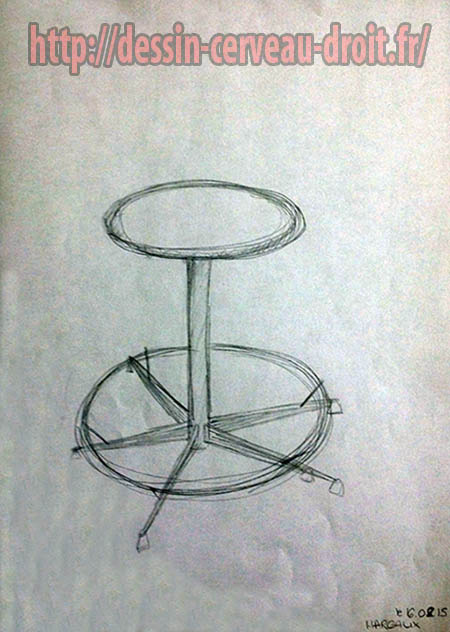 Siège dessiné par Margaux, le premier matin, 16 février 2015.